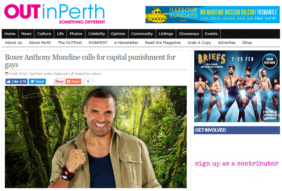 Mundine Out in Perth