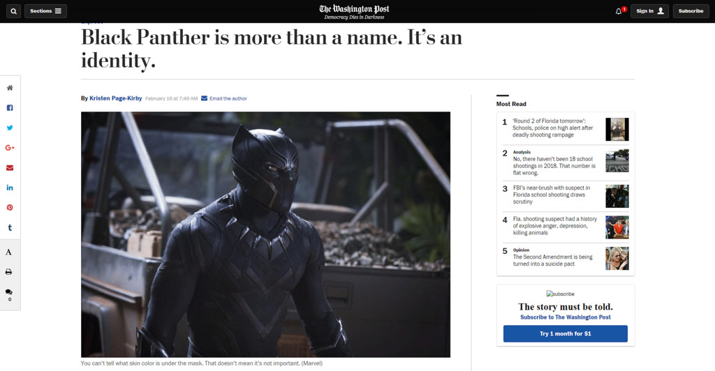 Black Panther is an identity