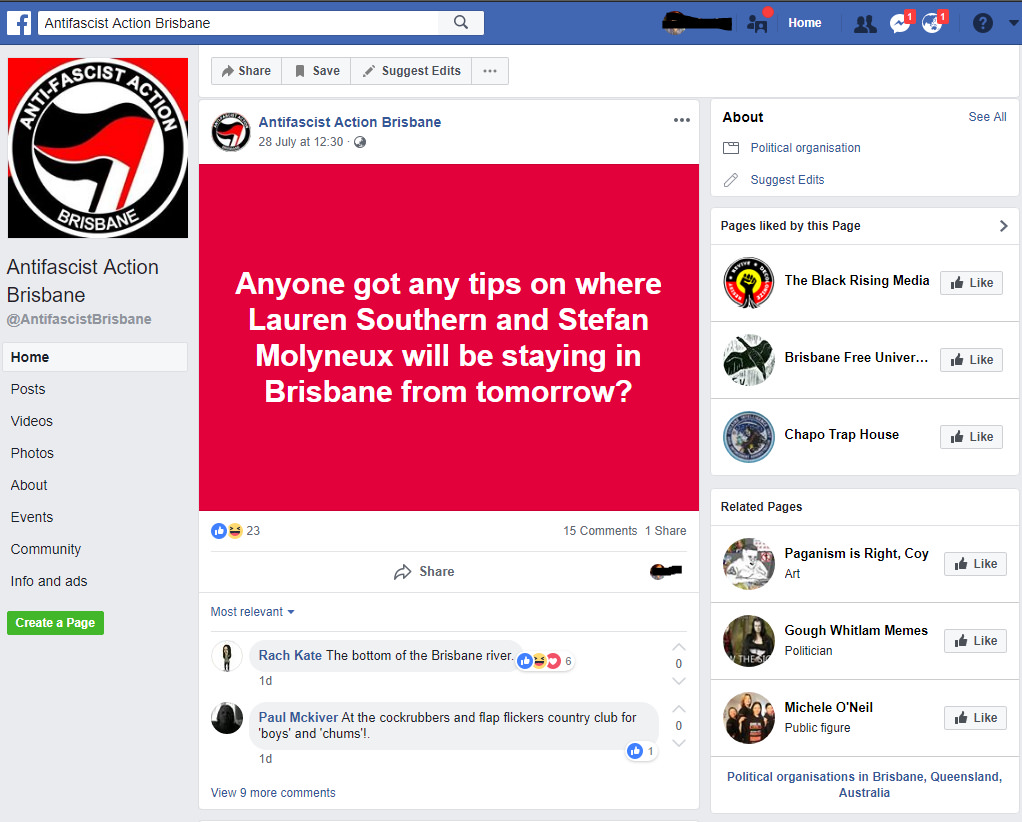 Antifa Brisbane threats